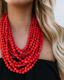 Carnevale Layered Statement Necklace - Coral