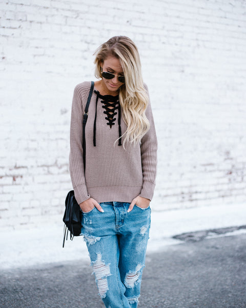 Open Play Lace Up Sweater - FINAL SALE
