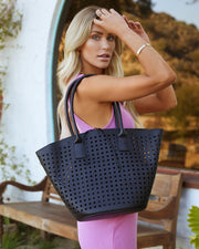 Palmas Perforated Faux Leather Tote Bag - Black view 1