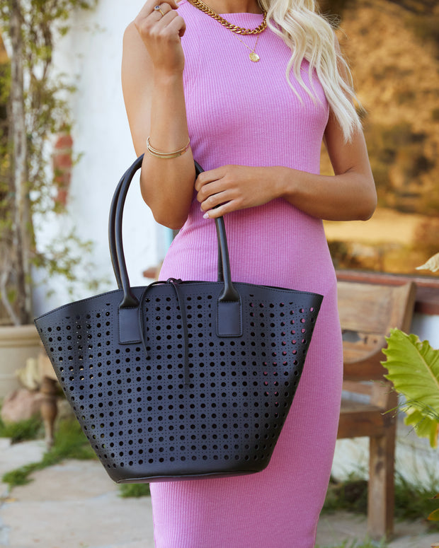 Palmas Perforated Faux Leather Tote Bag - Black view 6