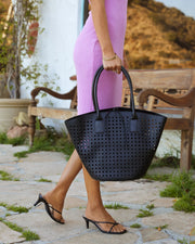 Palmas Perforated Faux Leather Tote Bag - Black view 2