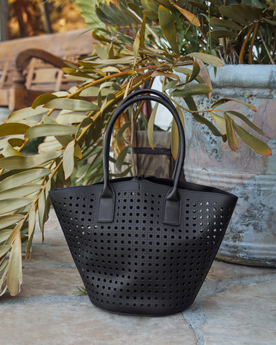 Palmas Perforated Faux Leather Tote Bag - Black