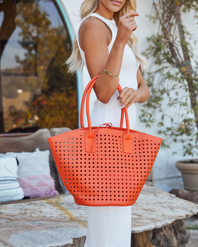 Palmas Perforated Faux Leather Tote Bag - Orange