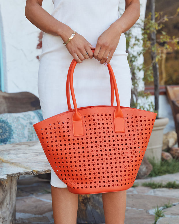 Palmas Perforated Faux Leather Tote Bag - Orange view 2