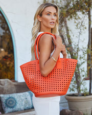 Palmas Perforated Faux Leather Tote Bag - Orange view 5