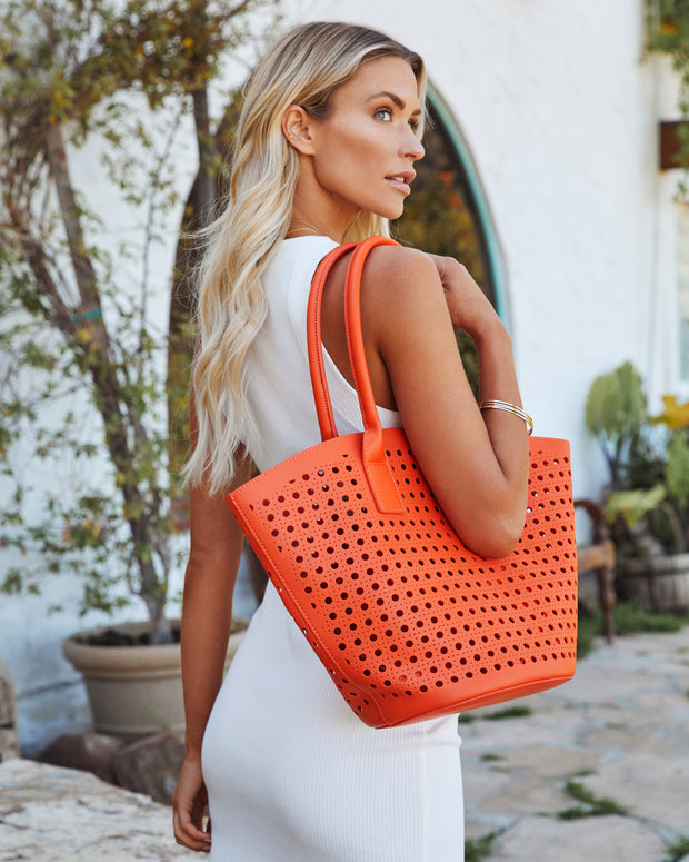 Palmas Perforated Faux Leather Tote Bag - Orange view 1