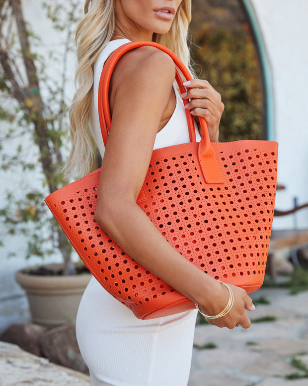 Palmas Perforated Faux Leather Tote Bag - Orange view 6