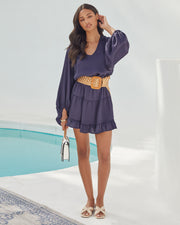 Paros Textured Satin Balloon Sleeve Dress - Navy view 10