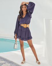Paros Textured Satin Balloon Sleeve Dress - Navy view 7