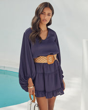 Paros Textured Satin Balloon Sleeve Dress - Navy view 5