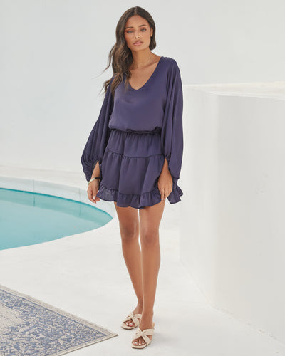 Paros Textured Satin Balloon Sleeve Dress - Navy