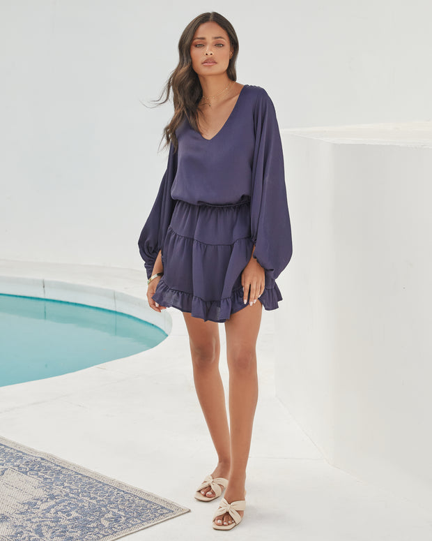 Paros Textured Satin Balloon Sleeve Dress - Navy view 1