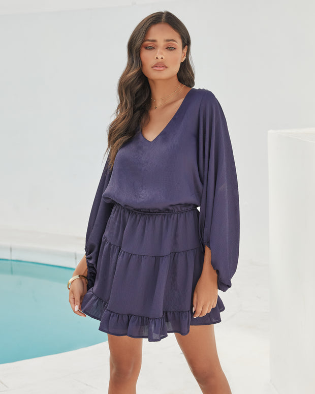 Paros Textured Satin Balloon Sleeve Dress - Navy view 8