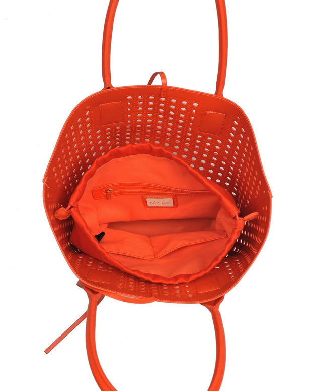 Palmas Perforated Faux Leather Tote Bag - Orange view 4