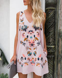 Emmy Embroidered Pocketed Shift Dress - Mauve