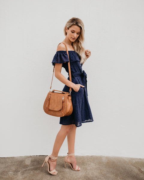 Sweet Caroline Pocketed Eyelet Off The Shoulder Dress - Navy