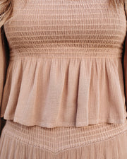Peggy Smocked Peplum Crop Top - Cappuccino