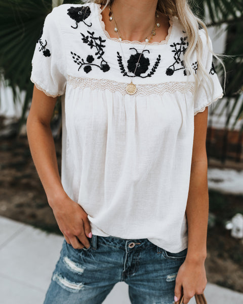 Pepita Embroidered Top - Off White