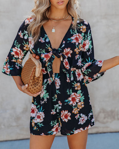 Pharrell Floral Tie Front Romper