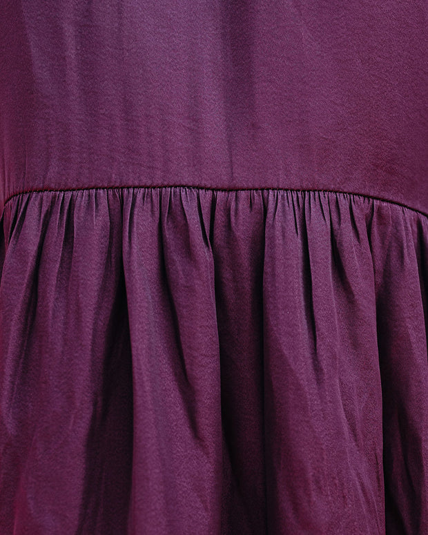 Pike Pocketed Satin High Low Tiered Tunic - Merlot