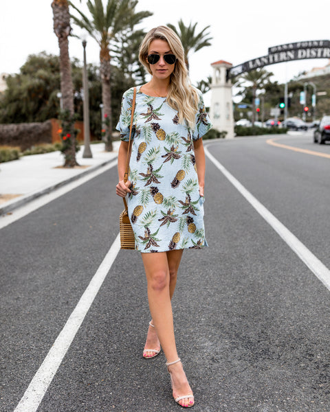 Pineapple Wonders Pocketed Shift Dress