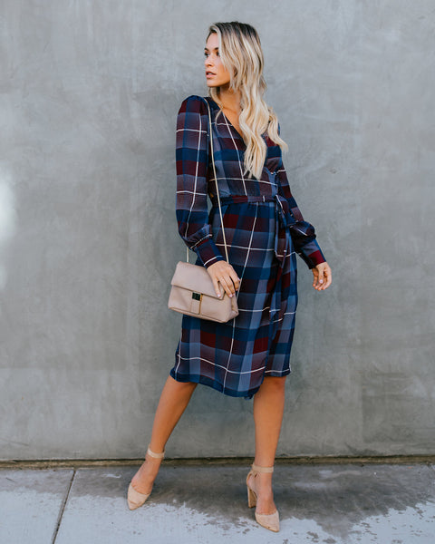 Southbound Train Plaid Wrap Dress