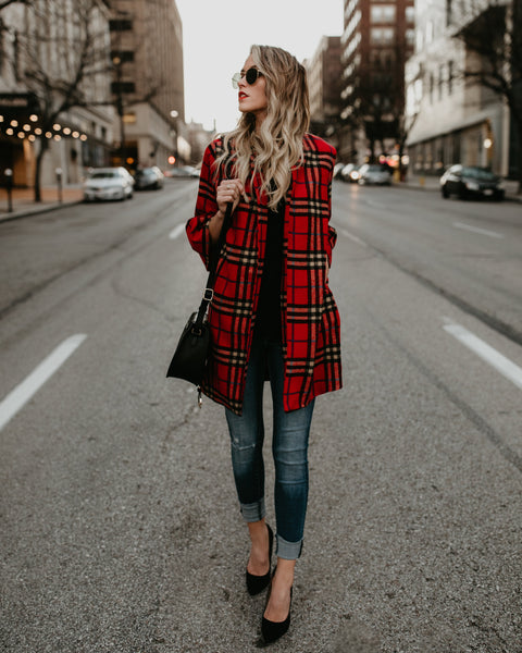 It's A Wonderful Life Pocketed Plaid Coat