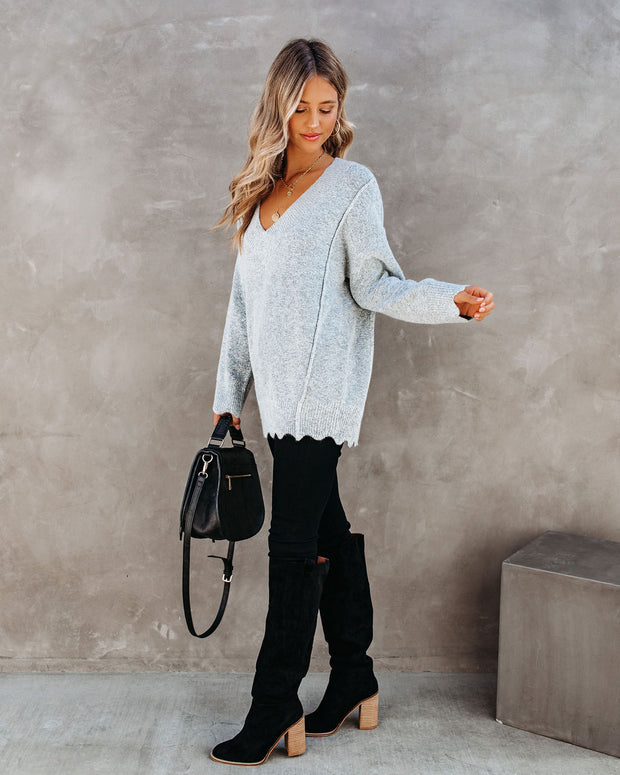 Plot Thickens Scalloped V-Neck Sweater