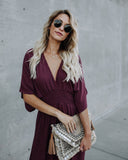 Find Me In The Field Kimono Maxi Dress - Plum Berry