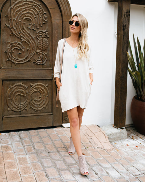 Desert Willow Linen Pocketed Shift Dress