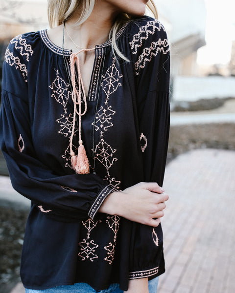 Tristan Tassel Embroidered Tie Top - FINAL SALE