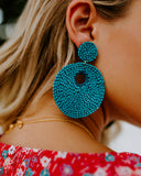 Bora Bora Beaded Statement Earrings - Teal
