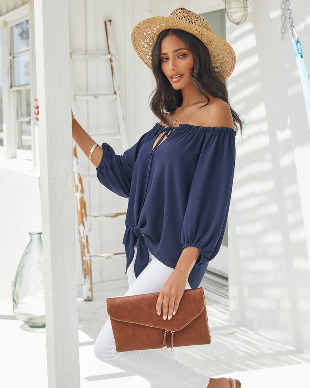 Rhodes Off The Shoulder Tie Blouse view 5