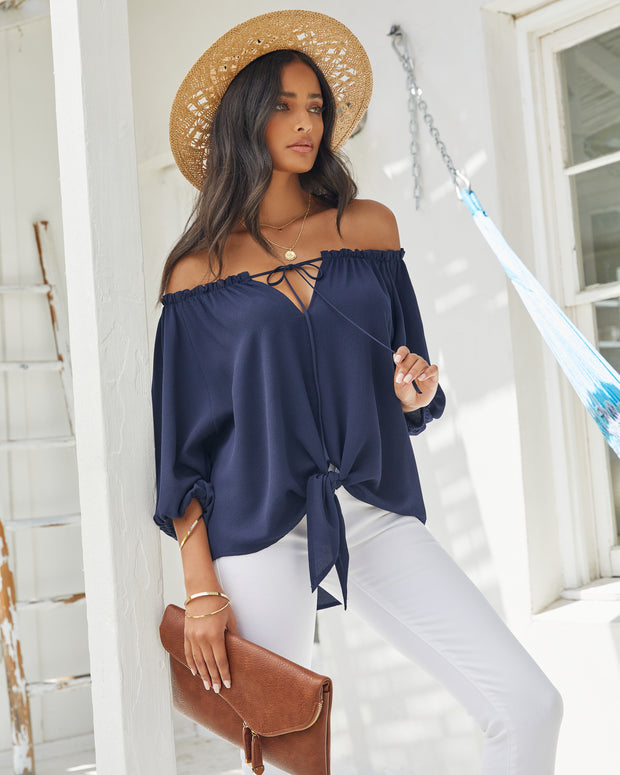 Rhodes Off The Shoulder Tie Blouse view 3