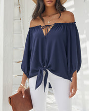 Rhodes Off The Shoulder Tie Blouse view 4