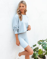 Restore Cotton Cutoff Zip Pullover - Light Blue