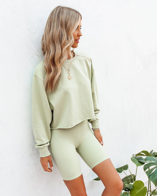 Restore Cotton Cutoff Zip Pullover - Sage