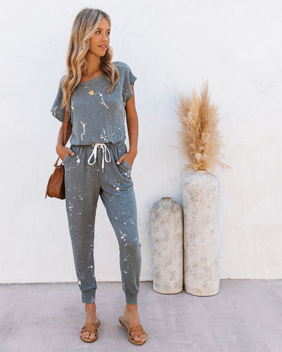 Right Track Pocketed Knit Splatter Jumpsuit