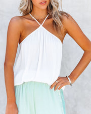Rioja Satin Halter Blouse - Off White view 5