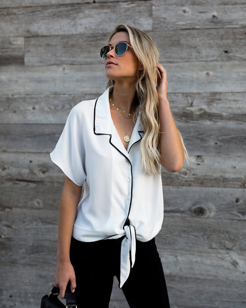 Romeo Button Down Tie Blouse - FINAL SALE