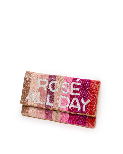 Rosé All Day Handmade Beaded Crossbody Clutch