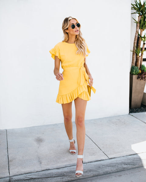PREORDER - Lovina Ruffle Wrap Dress - Yellow