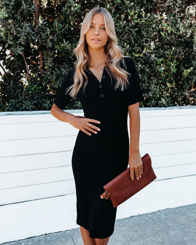 Runaway Collared Ribbed Knit Midi Dress - Black
