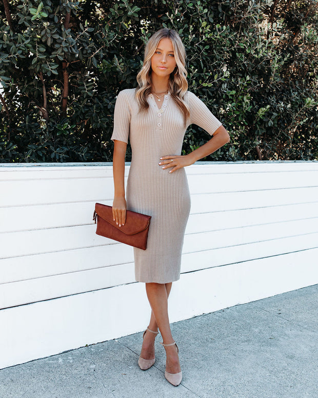 Runaway Collared Ribbed Knit Midi Dress - Taupe