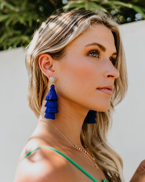 OLIVE + PIPER - Samara Tassel Drop Earrings - Royal Blue