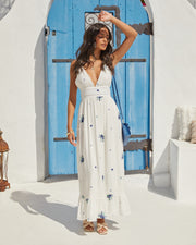 Scenic Town Embroidered Floral Maxi Dress view 13