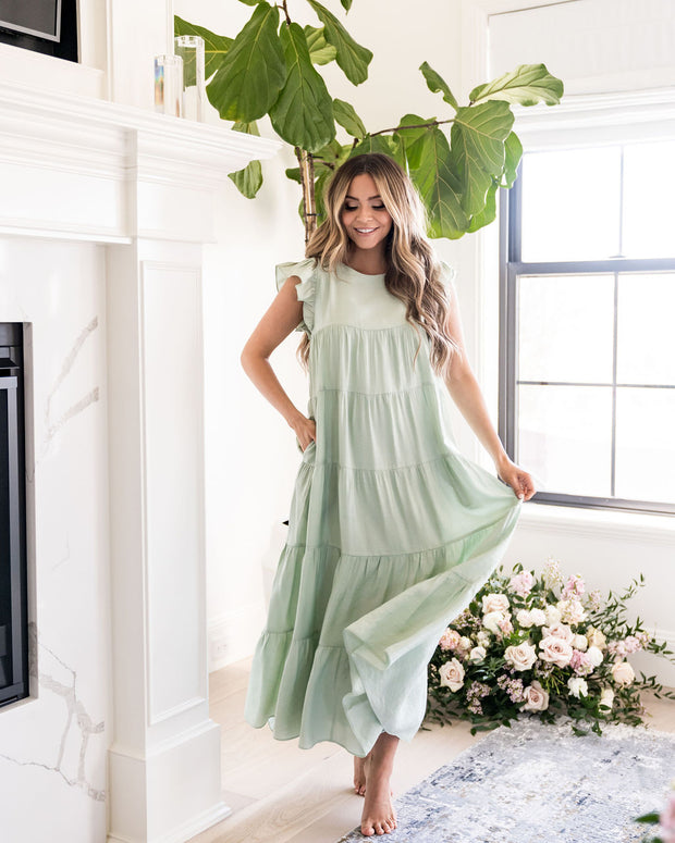 Sid Pocketed Tiered Maxi Dress - Pistachio view 5