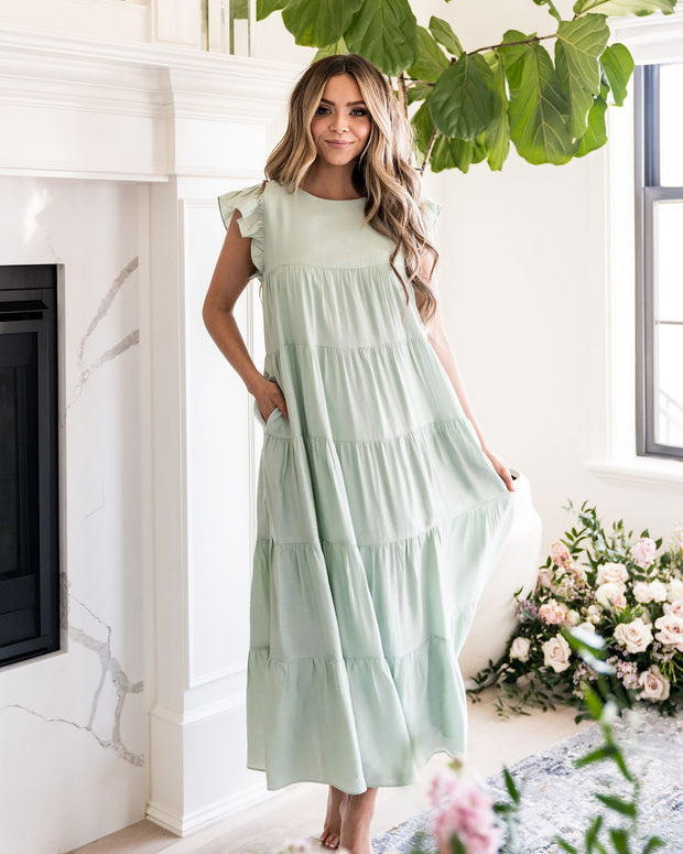 Sid Pocketed Tiered Maxi Dress - Pistachio view 8