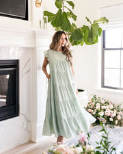 Sid Pocketed Tiered Maxi Dress - Pistachio view 9