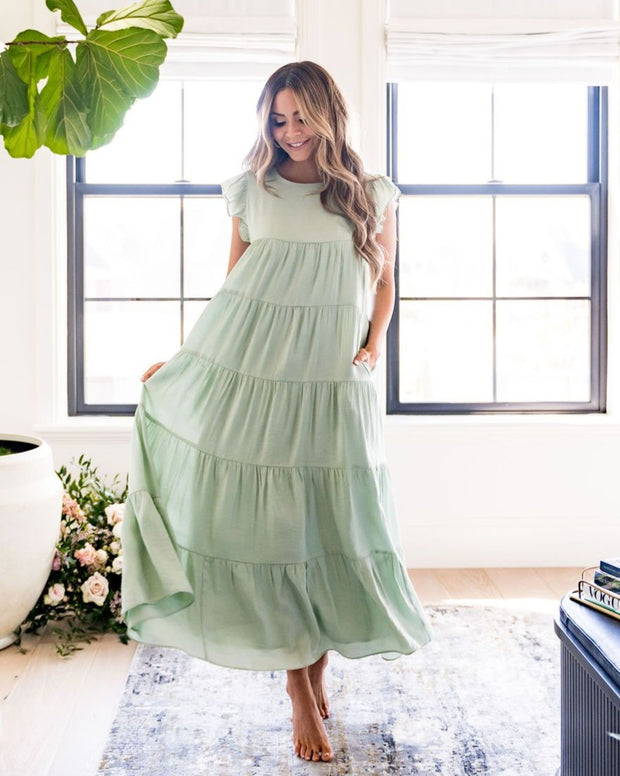 Sid Pocketed Tiered Maxi Dress - Pistachio view 1